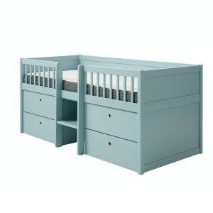 Flexa FREJA mittelhohes Bett (90×200 cm) mit Schubladen & Regal in hellblau Kinderbetten