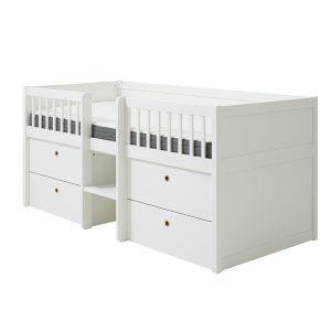 Flexa FREJA mittelhohes Bett (90×200 cm) mit Schubladen & Regal in weiß Kinderbetten