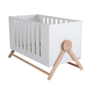 """Micuna Babybett """"Swing"""" aus Holz mit Schaukelfunktion (140×70 cm) in weiß und natur Kinderbetten"""