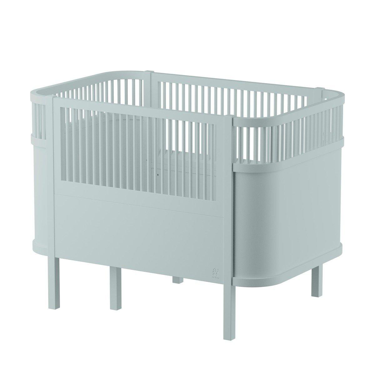Sebra Yomi Baby- und Kinderbett Komplettset mit Gitter aus Buchenholz (60 x120) höhenverstellbar in grau / weiß Kinderbetten
