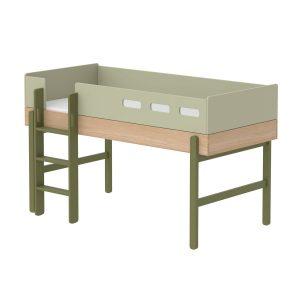 """Flexa Mittelhohes Bett """"Popsicle"""" aus Holz (90×200 cm) mit gerader Leiter, TÜV-geprüft (ab 4 Jahre) in grün Kinderbetten"""