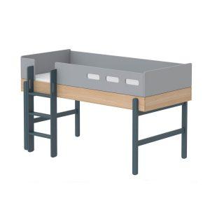 """Flexa Mittelhohes Bett """"Popsicle"""" aus Holz (90×200 cm) mit gerader Leiter, TÜV-geprüft (ab 4 Jahre) in blau Kinderbetten"""
