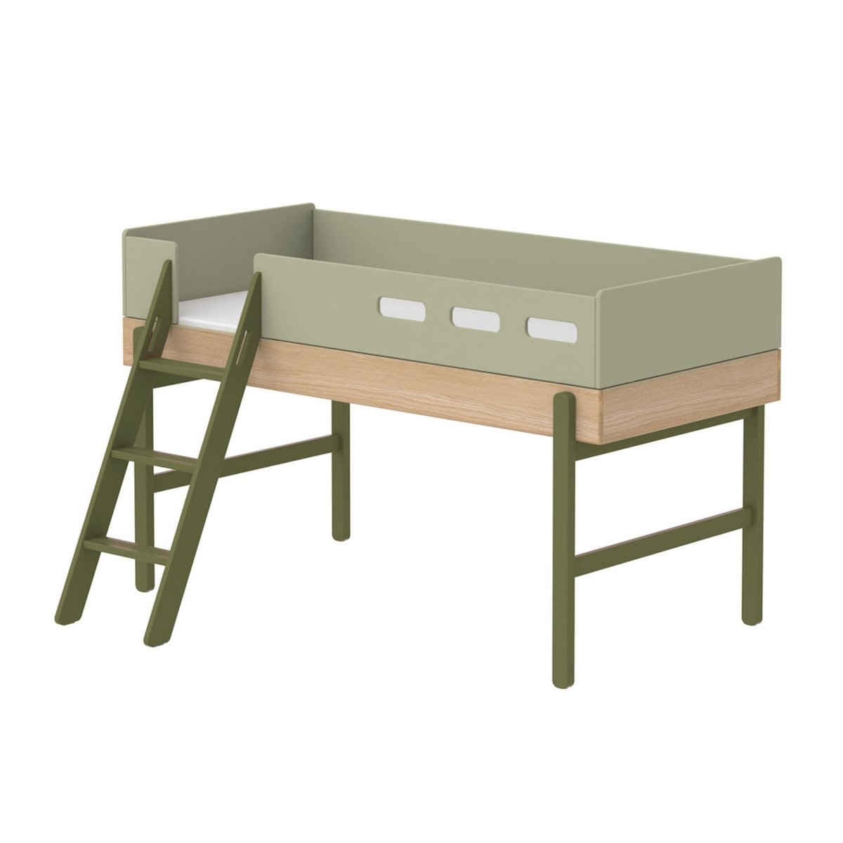"""Flexa Mittelhohes Bett """"Popsicle"""" aus Holz (90×200 cm) mit gerader Leiter, TÜV-geprüft (ab 4 Jahre) in rosa Kinderbetten"""