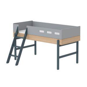 """Flexa Mittelhohes Bett """"Popsicle"""" aus Holz (90×200 cm) mit schräger Leiter, TÜV-geprüft (ab 4 Jahre) in blau Kinderbetten"""