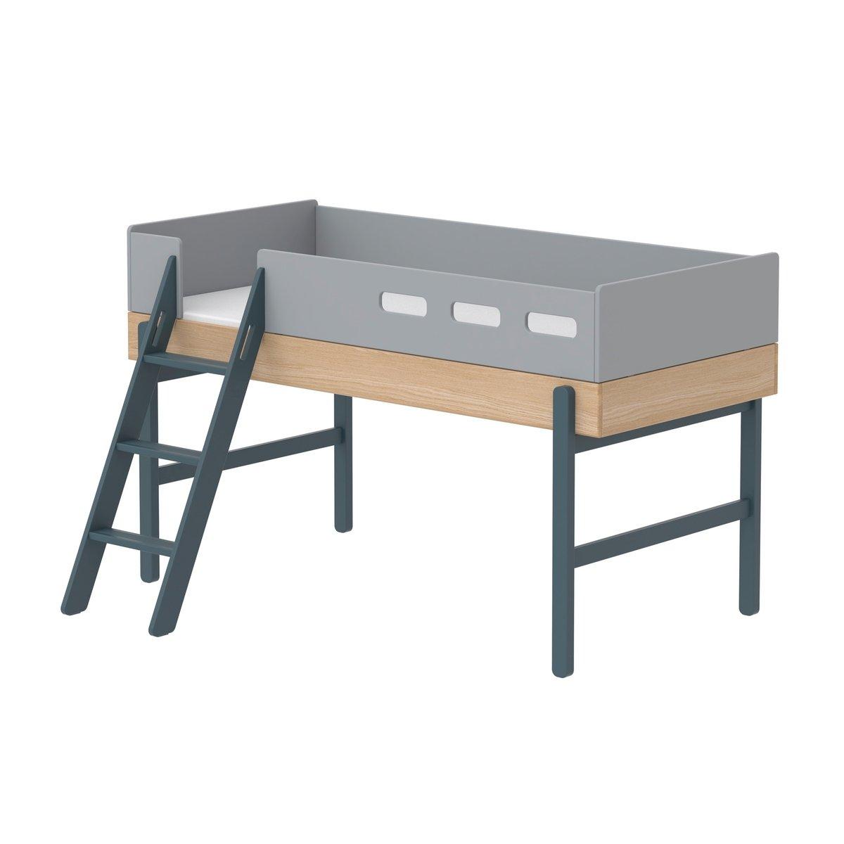 """Flexa Mittelhohes Bett """"Popsicle"""" aus Holz (90×200 cm) mit schräger Leiter, TÜV-geprüft (ab 4 Jahre) in grün Kinderbetten"""