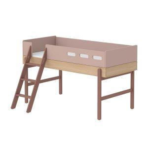 """Flexa Mittelhohes Bett """"Popsicle"""" aus Holz (90×200 cm) mit schräger Leiter, TÜV-geprüft (ab 4 Jahre) in rosa Kinderbetten"""