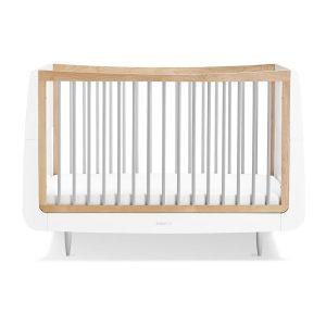 """Snüz Babybett """"SnüzKot"""" Skandi-Kollektion aus Buchenholz, höhenverstellbar und mitwachsend in natur/weiß/grau Kinderbetten"""