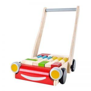 Plantoys Lauflernwagen aus Holz mit Gummireifen, Bausteinen & Bremswirkung (ab 10 Monaten) Holzspielzeug