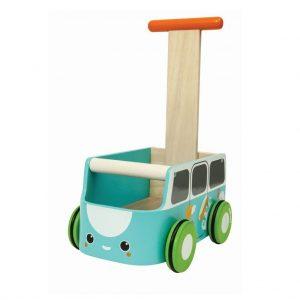 Plantoys Lauflernwagen aus Holz mit Gummireifen & Bremswirkung (ab 10 Monaten) in blau Holzspielzeug