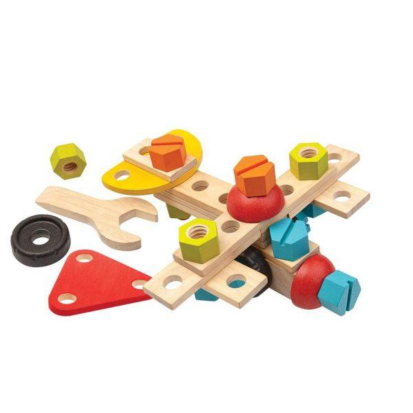 Plantoys Bau-Set aus Holz für Kinder, 40-teilig (ab 3 Jahren) Holzspielzeug