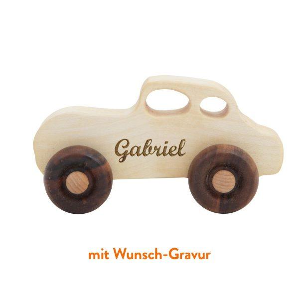 """Wooden Story Holzauto """"Retro"""" mit Wunsch-Gravur Holzspielzeug"""