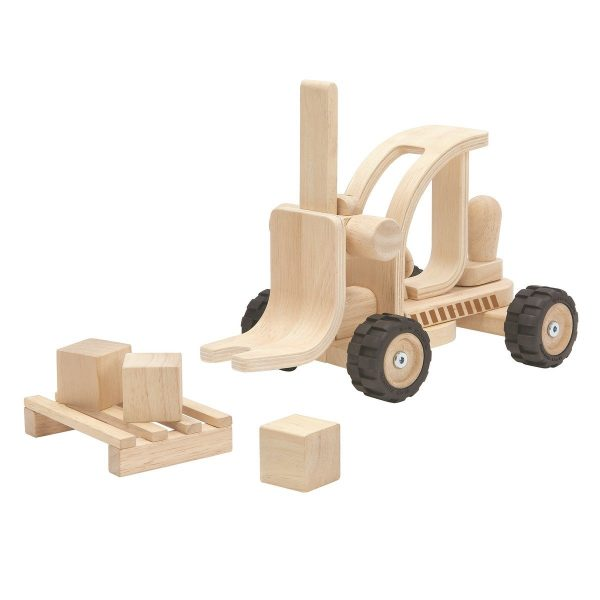 Plantoys Gabelstapler Special Edition aus Holz (ab 3 Jahren) inkl. Palette und Holzblöcke Holzspielzeug