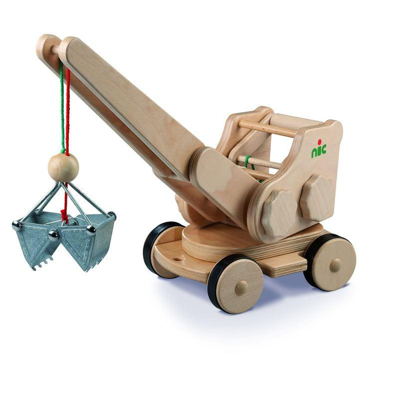 Nic Creamobil Baukran aus Naturholz | Modell: 1874 (ab 3 Jahren) Holzspielzeug