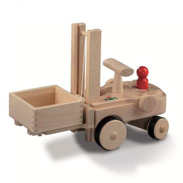 Nic Creamobil Gabelstapler mit Stapelkiste | Modell: 1884 (ab 2 Jahren) Holzspielzeug