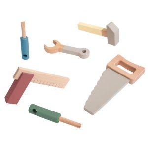 Sebra Werkzeugset aus Holz für Kinder, 6-teilig (ab 3 Jahren) warm grey Holzspielzeug