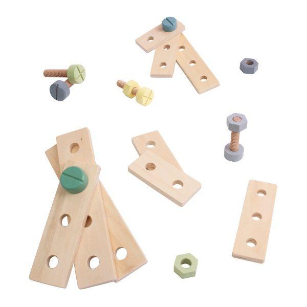 Sebra Bau-Spielset aus Holz, 21-teilig (ab 2 Jahren) in warmen grau Holzspielzeug