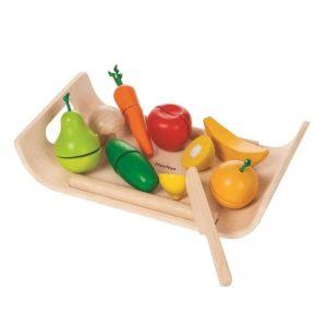 """Plantoys Lebensmittel aus Holz mit Schneidebrett """"Obst & Gemüse"""", 16-teilig (ab 3 Jahren) Holzspielzeug"""