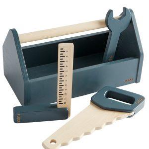 FLEXA Spiel-Werkzeugkasten DARK BLUE 4-teilig aus Holz Holzspielzeug