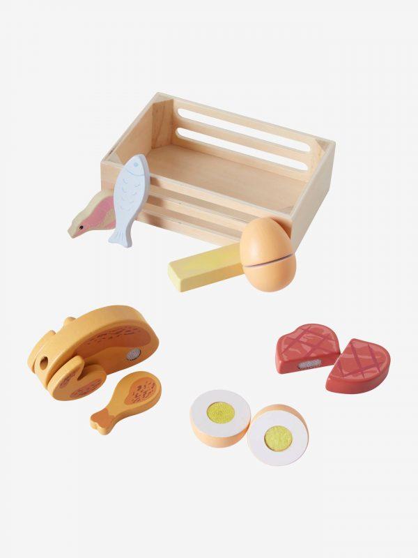 Kiste mit Lebensmitteln aus Holz von vertbaudet Holzspielzeug