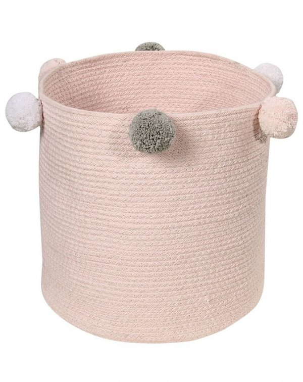 Lorena Canals Spielzeugkorb SEIFENBLASE (30×30) mit Pompons in rosa Aufbewahrung