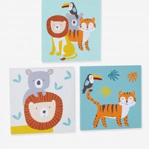 """3er-Set Wandbilder ,,Dschungelgrüße"""" von vertbaudet Bilder"""