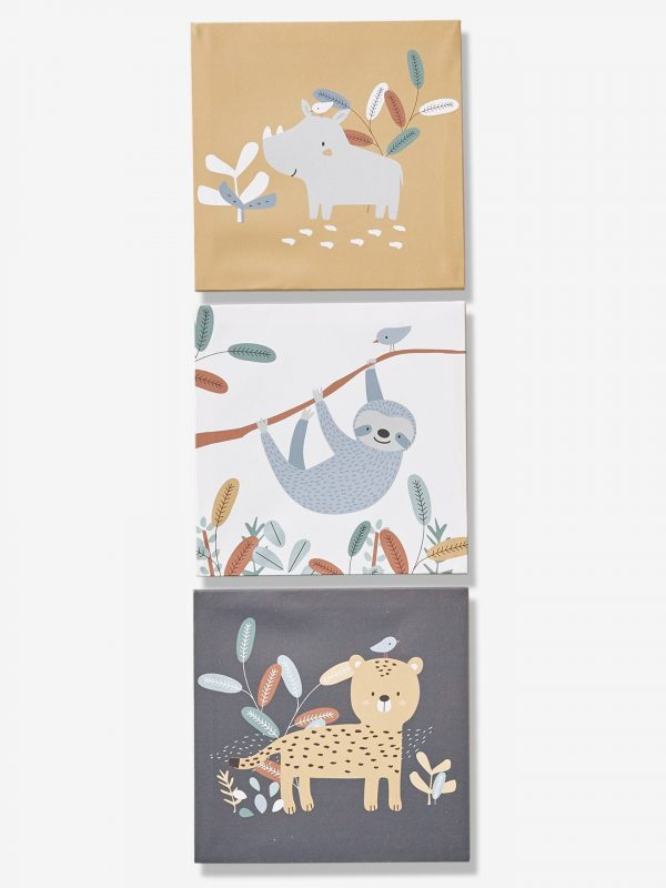 """3er-Set Wandbilder """"Dschungel-Paradies"""" braun von vertbaudet Bilder"""