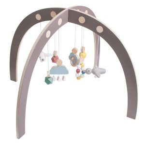 Sebra Spielbogen Baby-Gym aus Holz (ab 3 Monate, 55x55x84 cm) in grau Marken