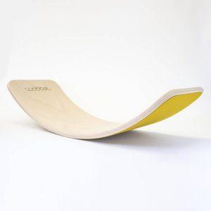 """Wobbel Balance-Board Original """"Leinen"""" aus Buchenholz mit Filz in gelb Marken"""