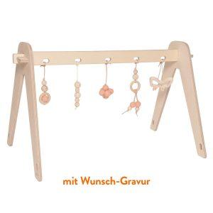 """Loullou Spielbogen-Set für Babys """"1st Play"""" inkl. 5 Anhänger in rosa mit Wunsch-Gravur Marken"""
