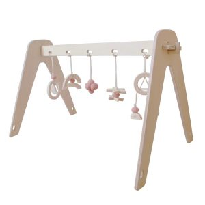 "Loullou Spielbogen-Set aus Birkenholz für Babys ""1st Play – Rose Cloud"" inkl. 5 Anhänger in rosa Marken"