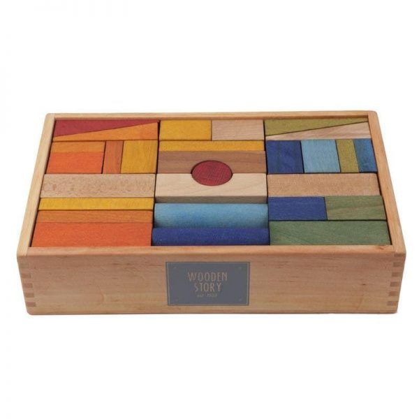 """Wooden Story bunte Holzklötze """"Regenbogen XL"""" im Holzkasten 63 Teile (ab 1 Jahr) Holzspielzeug"""