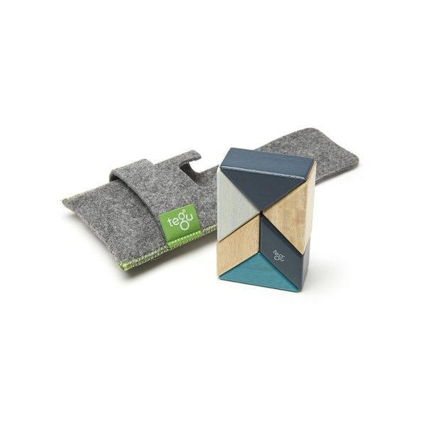 "Tegu Magnetbausteine aus Holz ""Prism – Classics"" inkl. Filztasche 6-teilig (ab 1 Jahr) Holzspielzeug"