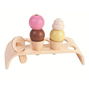 Plantoys Eiscreme-Set (8-teilig) für Kinder aus Holz (ab 3 Jahren) in bunt Holzspielzeug
