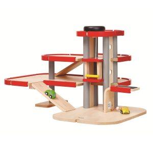Plantoys Parkhaus aus Holz mit Lift und Ladestation, Modell: 6271 (ab 3 Jahren) Holzspielzeug