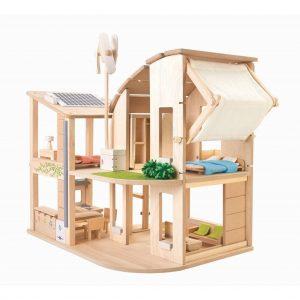 """Plantoys Puppenhaus aus Holz """"Öko-Haus"""", inkl. Möbel und Zubehör (ab 3 Jahren) Holzspielzeug"""