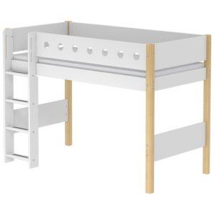FLEXA Mittelhohes Bett WHITE (90×200) mit gerader Leiter in natur/weiß Hochbetten