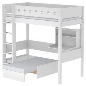 FLEXA Hochbett CASA WHITE (90×200) mit Sofabett und Schreibtisch in weiß Hochbetten