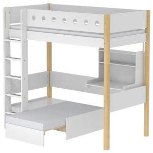 FLEXA Hochbett CASA WHITE (90×200) mit Sofabett und Schreibtisch in natur/weiß Hochbetten