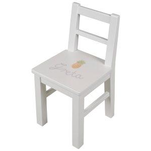 Isle of Dogs Kinderstuhl Weiß handbemalt mit Namen Kinder Schreibtischstühle