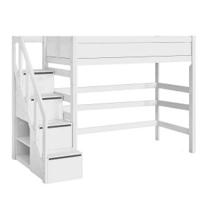 LifeTime Hochbett mit Treppe Weiß Hochbetten