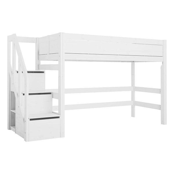 LifeTime Mittel Hochbett mit Treppe Weiß Hochbetten
