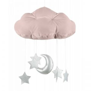 Cotton & Sweets Mobile Wolke altrosa mit Mond und Sternen silber Mobilés